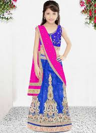 buy this blue net wedding wear embroidered work kids lehenga choli