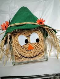 scarecrow halloween decorations scarecrow glass block that lights up for fall decorating with free
