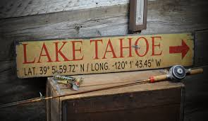 lake tahoe sign rustic hand made vintage wooden sign ens1000156