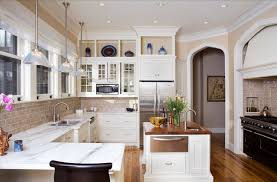 Building Traditional Kitchen Cabinets View Of Kitchen Work Area Traditional Kitchen New York By