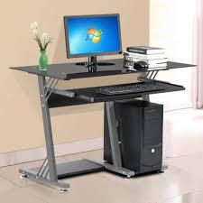 Glass Computer Corner Desk Office Desk Black Glass Computer Desk Glass Pc Desk Clear Glass