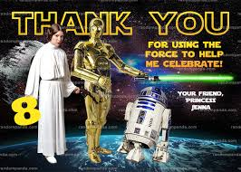 wars thank you cards wars thank you card r2d2 thanks princess leia thank you note