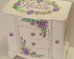 personalized baby jewelry box large jewelry box lavender roses bohemian roses jewelry box girl