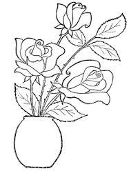 Vase Of Flowers Drawing Rose Flower Coloring Pages Kids Flower Coloring Pages Of