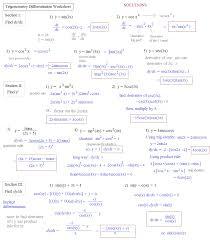 Sin Cos Tan Worksheet Derivatives Worksheets U2013 Wallpapercraft
