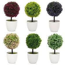 mini bonsai flower buxus plants in pot indoor artificial