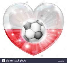 poland soccer football ball flag love heart concept with the