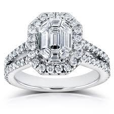 deco emerald cut diamond halo engagement ring 1 1 5 ctw in 14k