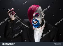 black suit halloween clown halloween theme scary clown pink stock photo 294523430
