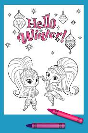 shimmer and shine winter coloring page nickelodeon parents