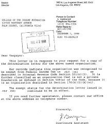 Non Profit Donation Receipt Letter Irs Determination Letter