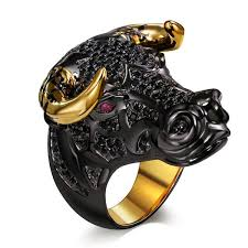 ring for men design lucky bull black golden color horns design ring for men