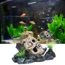 aquarium decorations pirate skull skeleton aquarium ornament hiding cave fish tank