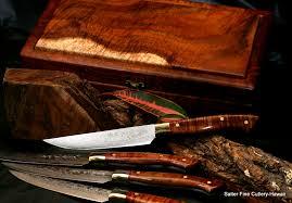 highest quality kitchen knives custom handmade stainless damascus steak knife set in presentation