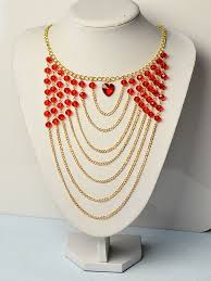 make chain necklace images How to make red glass beads and heart bead multi strands chain jpg