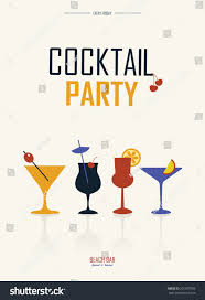 cocktail party simple retro poster with different drinks summer