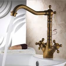 New Antique Design Dual Handle Long Neck Brass Kitchen Faucet - Brass kitchen sink