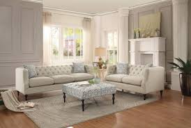 Loveseat Ottoman Traditional 3pc Solid Beige Tufted Sofa Set Turned Legs High Resilient