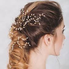 gold hair accessories 3 pcs gold leaf hair pins pearl bridal hairpins vintage bridal