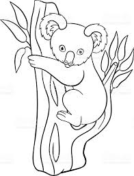 coloring pages cute baby koala smiles stock vector art