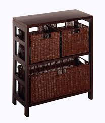 Storage Bookshelves With Baskets by Interior Square Brown Storage Shelves With Two Different Basket