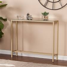 Narrow Console Table Blvd Dunbar Narrow Console Table W Mirrored Top Gold