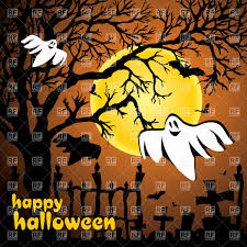 halloween card ghosts flying over cemetery moon and dry tree