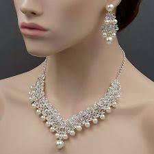 pearl earrings necklace images Wedding bridal pearl crystal necklace earring set ebay jpg