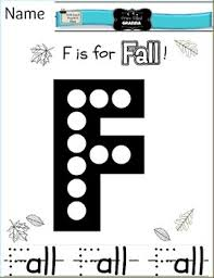 f is for fall preschool letter recognition handwriting practice sheet
