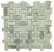 bianco white carrara marble 1x2 basketweave with black dots mosaic