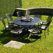 Cast Aluminium Outdoor Furniture by Bramblecrest Turin 8 Seat Oval Cast Aluminium Garden Furniture Set
