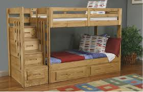 Kids Bedroom Furniture Bunk Beds Bedroom Wooden Bunk Beds With Stairs Plus Slide And Red Bed Linen