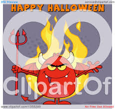 clipart of a cartoon winged devil welcoming and holding a trident