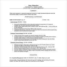 General Manager Resume Template Sample Resume Restaurantrestaurant Manager Resume Template