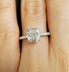 cushion solitaire engagement rings 2 05 ct cushion cut solitaire with accents engagement ring