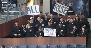 Aaron Judge Yankees Slugger Becomes Tallest Center Fielder - aaron judge gets judge s chambers cheering section at yankee stadium