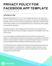 Free Privacy Policy Templates Website Mobile FB App