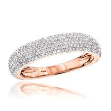 thin gold wedding band 14k gold micro pave diamond wedding band for women 0 5ct