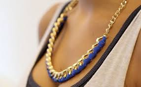 diy jewelry statement necklace images Diy gold chain ribbon necklace to make a statement jpg