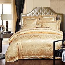 Gold Bedding Sets Gold White Blue Jacquard Silk Bedding Set Luxury 4 6pcs Satin Bed