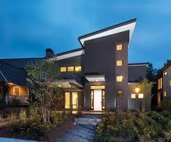 Modern Home Design Atlanta Grey Wall Modern House Atlanta With Warm Lamp And Wooden Floor Can