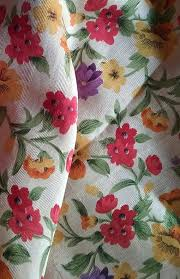 Large Floral Print Curtains Blended Cotton Silk Fabric Wallpaper Texture Pattern Background In