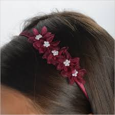 Burgundy Flowers Burgundy Flower Hairband With Flowers U0026 Pearls Demigella