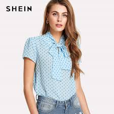 blouse with tie neck shein office blouse blue tie neck semi sheer top summer