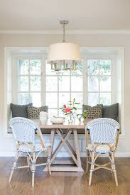 Navy Bistro Chairs Banquette Window Seat Nook Transitional Dining Room Amanda