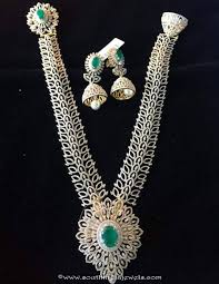 diamond long necklace images Diamond long necklace with matching jhumka south india jewels jpg