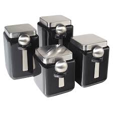29 99 oggi 4 piece ceramic square canister set in black beyond