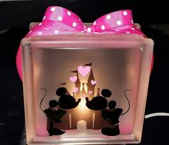 mickey and minnie mouse lighted glass block nightlight