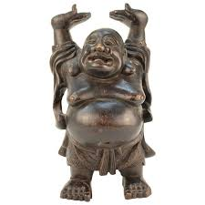 laughing buddha sculpture in wood nyshowplace