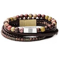 mens bracelet beads images Candyshop multicolor beads mens bracelet stack with brown leather png